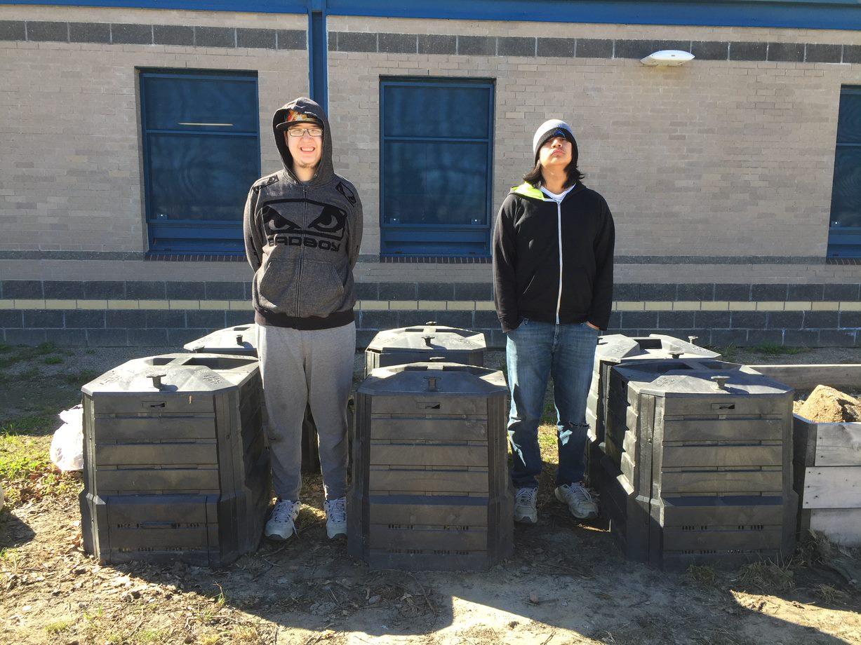 Owen & Drake with CCHS's compost bins
